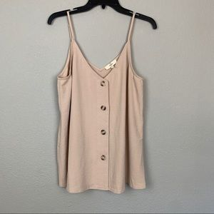 NWOT Entro nude tan tank layering buttons large